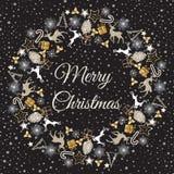 Weihnachtskranz-Vektorillustration Glückwünsche der frohen Weihnachten Stockbilder
