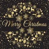 Weihnachtskranz-Vektorillustration Glückwünsche der frohen Weihnachten Stockbild