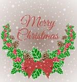 Weihnachtskranz-Vektorillustration Glückwünsche der frohen Weihnachten Stockfotos