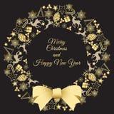 Weihnachtskranz-Vektorillustration Glückwünsche der frohen Weihnachten Lizenzfreies Stockfoto