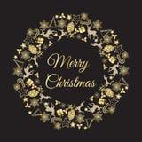 Weihnachtskranz-Vektorillustration Glückwünsche der frohen Weihnachten Stockfotografie