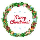 Weihnachtskranz-Vektorkarte (und Hintergrund) Lizenzfreies Stockfoto