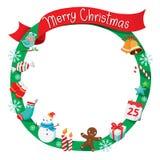 Weihnachtskranz, -verzierungen und -dekoration Stockfotografie