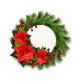 Weihnachtskranz von Kiefer Zweigen, Beeren und ponsettia blüht Lizenzfreie Stockbilder