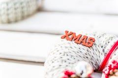 Weihnachtskranzdekoration, Weihnachtszeichen stockfotos