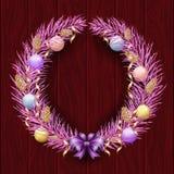Weihnachtskranzgrenze Feld der violetten Kiefer Frohe Weihnachten und guten Rutsch ins Neue Jahr 2019 Purpurrote Niederlassungen  stock abbildung