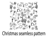 Weihnachtskritzeln nahtlose Musterrotwild Plätzchenherz-Geschenklinie lizenzfreie stockbilder