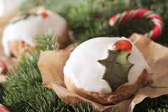 Weihnachtskuchen mit selbst gemachtem Karamellstock lizenzfreie stockfotos