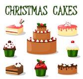 Weihnachtskuchen- und -kuchensatz, Ikonen, Illustrationen Lizenzfreie Stockfotografie