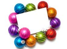 Weihnachtskugel Anmerkung-Karte Lizenzfreies Stockfoto