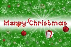 Weihnachtskugel auf grauem Hintergrund mit Schnee Lizenzfreies Stockfoto
