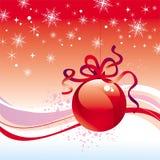 Weihnachtskugel mit Farbband Stockbild