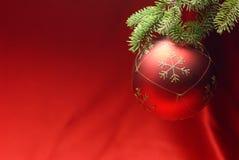 Weihnachtskugel mit Kieferzweig Stockfoto