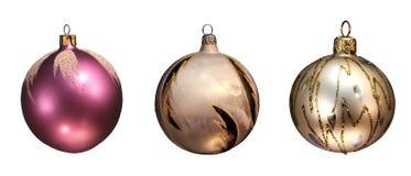 Weihnachtskugel-Serie (getrennt auf Weiß mit Exemplar Stockbilder