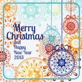 Weihnachtskugeln auf dem weißen Hintergrund Stockfotos