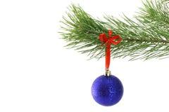 Weihnachtskugeln auf Tannenbaumzweig Stockbild