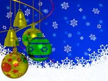Weihnachtskugeln und -bell Lizenzfreies Stockbild