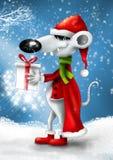 Weihnachtslächelnde Karikaturmaus mit Geschenk lizenzfreie abbildung