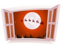 Weihnachtslandschaft außerhalb des Fensters Lizenzfreies Stockfoto