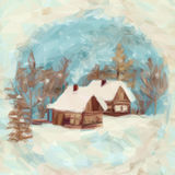 Weihnachtslandschaft, Dorf-Häuser Stockfotos