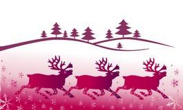 Weihnachtslandschaft mit deers Lizenzfreie Stockfotografie
