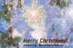 Weihnachtslandschaft mit einer Glückwunschaufschrift Lizenzfreie Stockfotografie