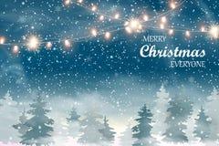 Weihnachtslandschaft mit fallendem Weihnachtsschnee, Koniferenwaldfeiertagswinterlandschaft für frohe Weihnachten und glückliche  Lizenzfreie Stockfotos