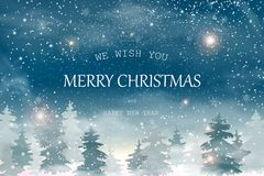 Weihnachtslandschaft mit fallendem Weihnachtsschnee, Koniferenwaldfeiertagswinterlandschaft für frohe Weihnachten und glückliche  Stockbild