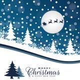 Weihnachtslandschaft mit Schnee karte Lizenzfreie Stockbilder