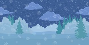 Weihnachtslandschaft, Nachtwinterwald Stockfotos