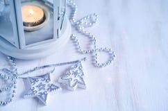 Weihnachtslaterne Magischer Blitzhintergrund Stockfoto