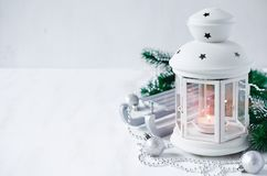Weihnachtslaterne Magischer Blitzhintergrund Lizenzfreies Stockbild