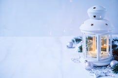 Weihnachtslaterne Magischer Blitzhintergrund Stockfotografie