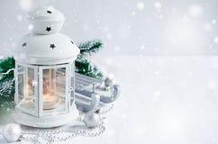 Weihnachtslaterne Magischer Blitzhintergrund Stockfotos