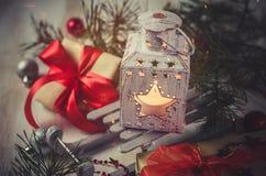 Weihnachtslaterne Magischer Blitzhintergrund Stockbilder
