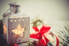 Weihnachtslaterne Magischer Blitzhintergrund Lizenzfreies Stockfoto