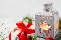 Weihnachtslaterne Magischer Blitzhintergrund Lizenzfreie Stockfotos