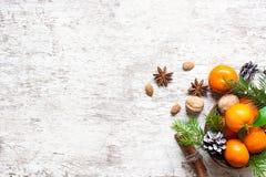 Weihnachtslebensmittelhintergrund tangerinen Kiefernkegel, -nüsse und -gewürze Stockfoto