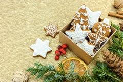 Weihnachtslebkuchen in der Geschenkbox mit Tannenzweigen und Gewürzen Lizenzfreie Stockbilder