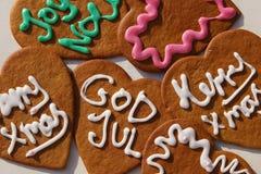 Weihnachtslebkuchen-Herzplätzchen Lizenzfreies Stockbild