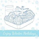 Weihnachtslebkuchen, -plätzchen und -glas Milch Stockfotos