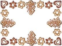 Weihnachtslebkuchen-Plätzchenfeld Lizenzfreie Stockfotos