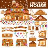 Weihnachtslebkuchenhaus-Erbauerkarikaturplätzchensüßigkeit grüßende Kartenikonen neuen Jahres Stockfotografie