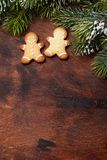 Weihnachtslebkuchenplätzchen und Tannenbaum lizenzfreies stockbild