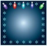 Weihnachtsleuchte-Feld mit Schneeflocken Lizenzfreie Stockfotografie