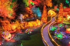 Weihnachtsleuchten in den butchart Gärten lizenzfreies stockbild