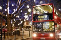 Weihnachtsleuchten in London Stockfotos