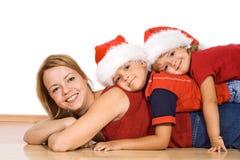 Weihnachtsleutestapel - getrennt Lizenzfreies Stockfoto