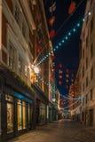 Weihnachtslichter auf Carnaby-Straße, London Großbritannien Stockfotos