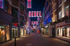 Weihnachtslichter auf Carnaby-Straße, London Großbritannien Lizenzfreies Stockbild
